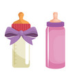 baby shower card with milk bottles vector image vector image
