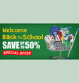 back to school with cart full education object vector image vector image