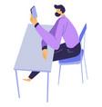 bored man looking at screen smartphone vector image