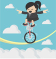 business woman riding bike one wheel on a rope vector image vector image