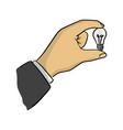 businessman holding small bulb vector image vector image