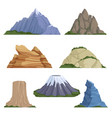 cartoon mountains snow rockies summer terrain vector image