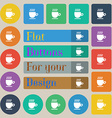 Coffee cup sign Set of twenty colored flat round vector image vector image