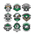 collection of colorful baseball logos labels with vector image vector image