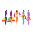 collection of people carrying shopping vector image