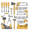 colored of carpentry tools wooden vector image vector image