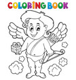 coloring book with cupid 9 vector image vector image