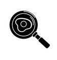 contour delicious fried egg inside skillet pan vector image vector image