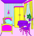 Cosy room for a girl with furniture and toys vector image