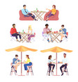 couples people at lunch flat set men and women vector image