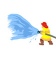 fireman extinguishes fire spraying vector image vector image