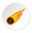 flame meteorite icon circle vector image vector image