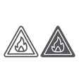 flammable sign line and glyph icon warning and vector image vector image