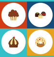 flat cake set of muffin cupcake cake and other vector image vector image