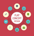 flat icons playful fish landscape wood vector image vector image
