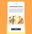 freelancer working in comfortable shared workplace vector image vector image