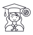 graduation girl line icon sign vector image