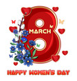 greeting card template to 8 march womens day vector image vector image