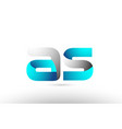 grey blue alphabet letter as a s logo 3d design vector image vector image