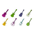 guitar icon set color outline style vector image