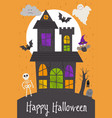 halloween card design with castle vector image vector image