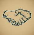 Hand draw sketch of vintage style hand shake vector image