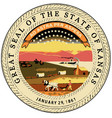 kansas state seal vector image vector image