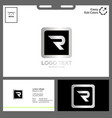 logo letter r for technology concept vector image