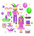 mardi gras icons set vector image