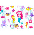 mermaid seamless pattern vector image vector image