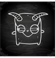 Monster with Horns Drawing on Chalk Board vector image vector image