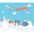 Polar bear enjoy christmas travel in asia vector image