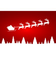 santa claus is flying with a reindeer team vector image vector image
