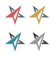 set abstract arrow star compass rose logo template vector image