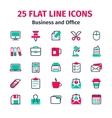 Set of 25 flat line icons vector image vector image