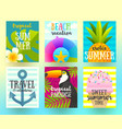 set summer holidays and vacation posters vector image vector image