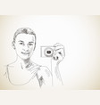 sketch woman taking photo with compact camera vector image