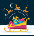 sled with gift boxes and reindeer vector image