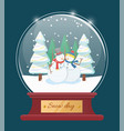 snowmen outside dressed in hat and scarf holiday vector image