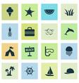 sun icons set with baseball cap pineapple ship vector image