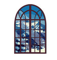 the window overlooking the snow-capped mountains vector image vector image