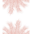 tropical design with pink palm leaves and plants vector image vector image