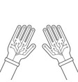 two black hands thin line with virtual gloves vector image vector image