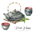 Watercolor Vintage teapot two cups of tea vector image