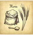 wheat bag of flour and wooden scoop vector image vector image