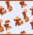 winter red pandas seamless pattern graphics vector image