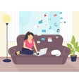 Woman sitting with laptop on the sofa at home and vector image vector image