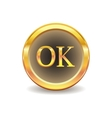 gold button with ok sign vector image