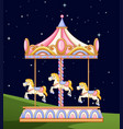 a carousel in the park at night vector image