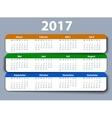 Calendar 2017 year German Week starting on Monday vector image vector image